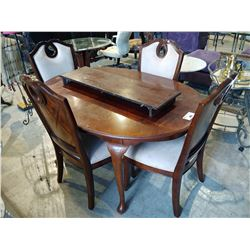 DARK WOOD DINING TABLE WITH 4 CHAIRS AND LEAF