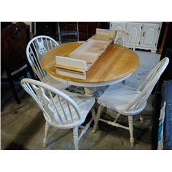 WOOD DINING TABLE WITH 4 CHAIRS, 2 LEAVES AND MATCHING HUTCH