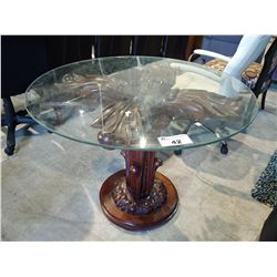 ORNATE WOOD PEDESTAL TABLE WITH GLASS TOP