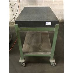 "36"" x 24"" x 4"" Granite Plate with Metal Rolling Cart"