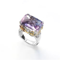 Sterling Silver 12.07ctw Pink Amethyst  Ring-SZ 7
