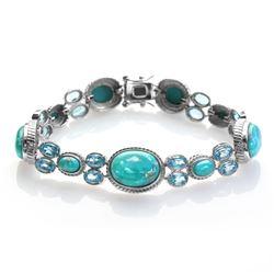 "Silver Turquoise & Swiss Blue Topaz Bracelet 8.2"""
