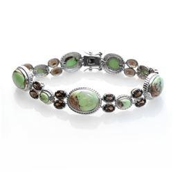 "Silver Chrysoprase & Smoky Quartz Bracelet 7.5"""