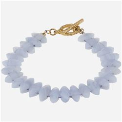 Sterling Silver Lace Agate Toggle Bracelet 7.5""