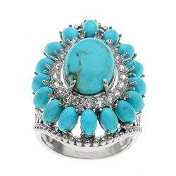 Sterling Silver Turquoise & Topaz Flower Ring-SZ 7