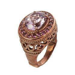 14K Rosegold Vermeil Pink Amethyst Halo Ring-SZ 8