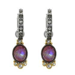 Silver Moonstone Jasper Doublet Drop Earrings