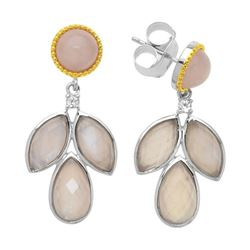 Silver Rose Quartz Doublet Leaf Drop Earring