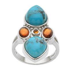 Silver Turquoise & Hessonite Garnet Ring-SZ 8