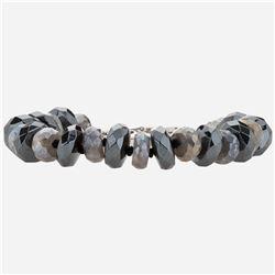 "Silver Labradorite and Hematite Bead Bracelet 7.5"""