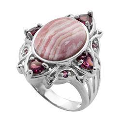 Sterling Silver Rhodocrosite & Garnet Ring-SZ 8