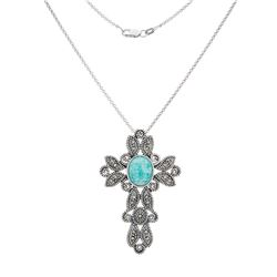 Silver Amazonite and Marcasite Cross Pendant