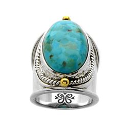 Sterling Silver Turquoise Wide Band Ring-SZ 5