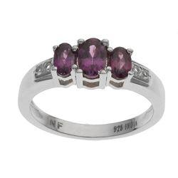 Silver Purple Garnet & Topaz 3-Stone Ring-SZ 7