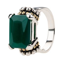 Silver Green Agate Gold Accents Beaded Ring-SZ 7