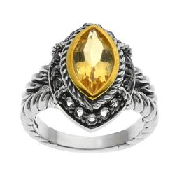 Silver Marquise Citrine & White Topaz Ring-SZ 7