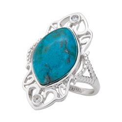 Silver Marquise Chrysocolla & Topaz Ring-SZ 7