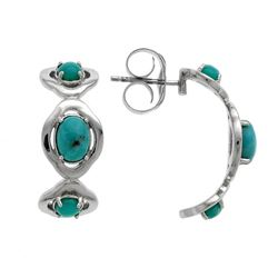 Silver Campo Frio Turquoise J-Hoop Earrings