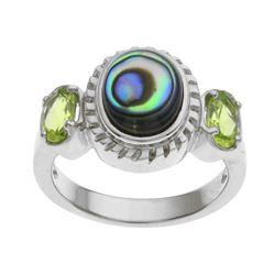 Silver Abalone & Peridot Three Stone Ring-SZ 10