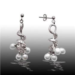 Silver Freshwater Pearls Swirl Drop Earrings