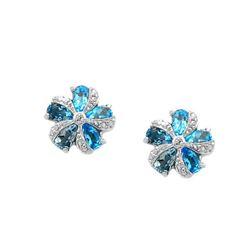 Silver Swiss Blue Topaz Flower Stud Earrings