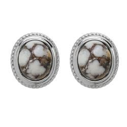 Silver Oval Wild Horse Rope Textured Stud Earrings