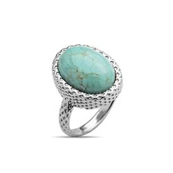 Sterling Silver Oval Turquoise Textured Ring-SZ 7