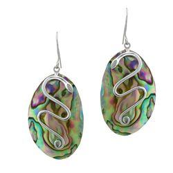 Sterling Silver Oval Abalone Snake Drop Earrings