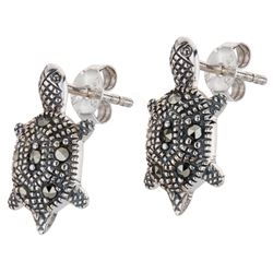 Sterling Silver Marcasite Turtle Earrings
