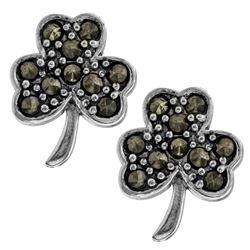 Sterling Silver Marcasite Shamrock Stud Earrings