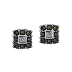 Silver Tone Marcasite Square Stud Earrings