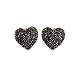 Silver Tone Marcasite Heart Stud Earrings