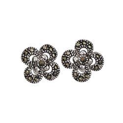 Silver Tone Marcasite Flower Stud Earrings