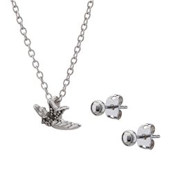 Genuine Marcasite Bird Pendant and Earring Set
