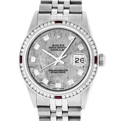 Rolex Mens SS Meteorite Diamond & Ruby Channel Set Diamond Datejust Wristwatch