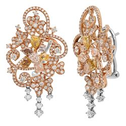 18k Three Tone Gold 5.96CTW Multicolor Dia and Pink Diamond and Diamond Earrings
