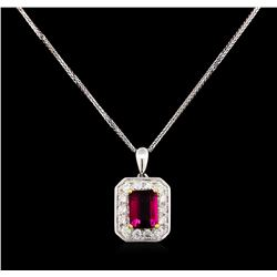 14KT Two-Tone Gold 1.53 ctw Tourmaline and Diamond Pendant With Chain
