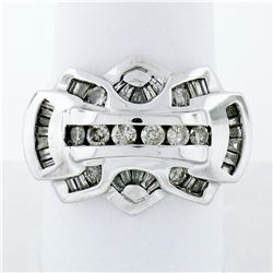 Statement Men's 14K White Gold 1.35 ctw Round & Baguette Diamond Ring