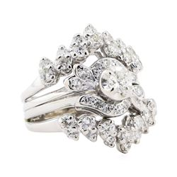 1.55 ctw Diamond Ring And Ring Guard - 14KT White Gold