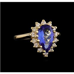 2.68 ctw Tanzanite and Diamond Ring - 14KT Yellow Gold