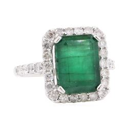 6.79 ctw Emerald and Diamond Ring - 14KT White Gold