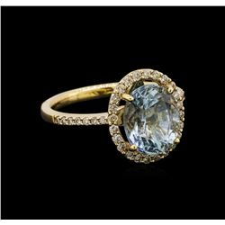 14KT Yellow Gold 2.62 ctw Aquamarine and Diamond Ring