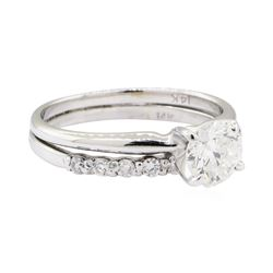 1.06 ctw Diamond Ring Soldered To Wedding Band - 14KT White Gold
