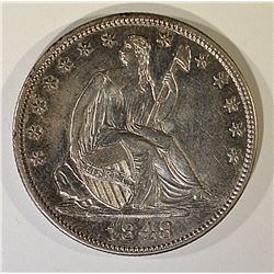 1848 SEATED LIBERTY HALF DOLLAR, AU/BU