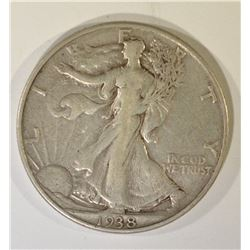 1938-D WALKING LIBERTY HALF, VF/XF