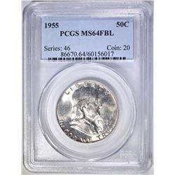 1955 FRANKLIN HALF DOLLAR, PCGS MS-64 FBL