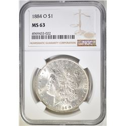 1884-O MORGAN DOLLAR, NGC MS-63