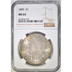 1885 MORGAN DOLLAR, NGC MS-64