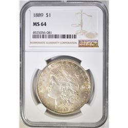 1889 MORGAN DOLLAR, NGC MS-64