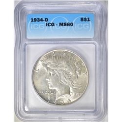 1934-D PEACE DOLLAR, ICG MS-60